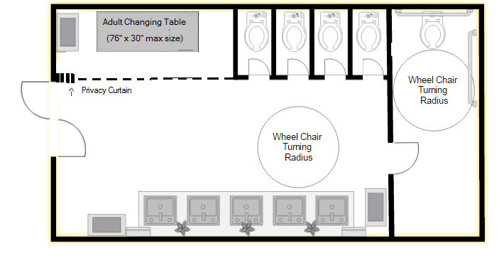 Family restroom floor plan with adult changing table