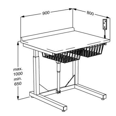 Drawing of Pressalit Care Freestanding Small Size Changing Table